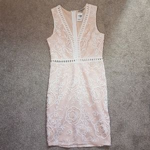 Charlotte Russe White Nude Embroidered Dress M